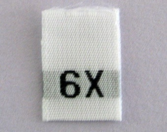 Size 6X Woven Clothing Size Tags (Package of 1000)