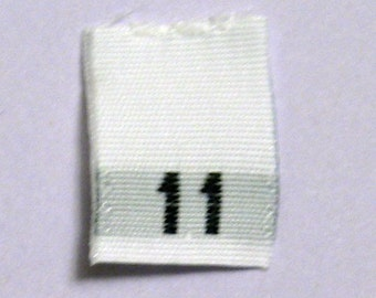 Size 11 (Eleven) Woven Clothing Size Tags (Package of 100)