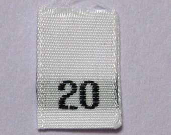 Size 20 (Twenty) Woven Clothing Size Tags (Package of 100)