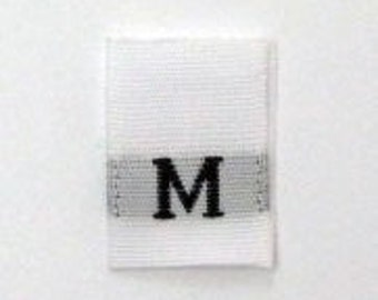 Size M (Medium) Woven Clothing Size Tags (Package of 500)
