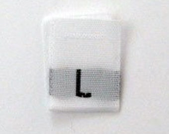 Size L (Large) Woven Clothing Size Tags (Package of 250)