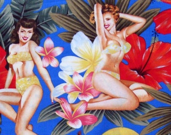Three (3) Yards - Pin Up Island Girls in Blue by Alexander Henry 81AR