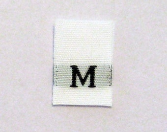 Size M (Medium) Woven Clothing Size Tags (Package of 50)
