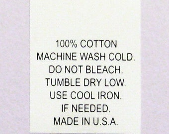 100% Cotton Garment Care Wash Cold Printed Care Labels (Package of 50) Number 8