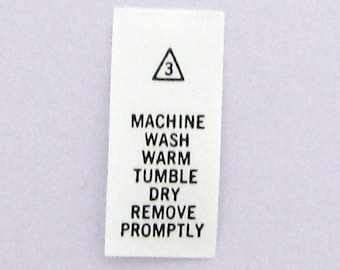 Machine Wash Warm - Tumble Dry Printed Care Tags (Package of 100) number 3T