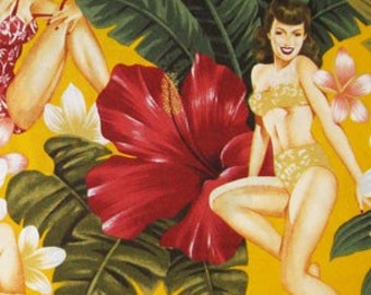 One (1) Yard - Pin Up Island Girls Alexander Henry 81CR Yellow