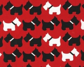 FAT QUARTER - Dogs on Red Urban Zoologie by Robert Kaufman Fabrics 11511-3