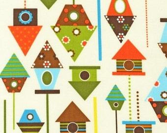 FAT QUARTER - Birdhouses on Cream Urban Zoologie by Ann Kelle Bermuda AAK-11509-237 Bermuda