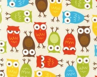 Five (5) Yards - Autumn Colored Owls on Cream Bermuda Urban Zoologie by Ann Kelle 10348-237