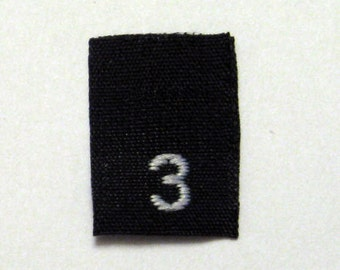 Size 3 (Three) BLACK- Woven Clothing Size Tags (Package of 250)