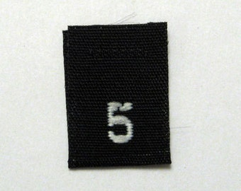 Size 5 (Five) BLACK- Woven Clothing Size Tags (Package of 250)