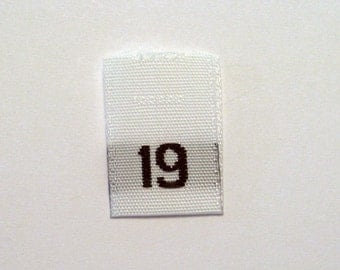 Size 19 (Nineteen)  Woven Clothing Size Tags (Package of 100)