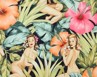 One (1) Yard - Mirage on Navy Blue Nudes Pin Up Fabric by Alexander Henry 7212A
