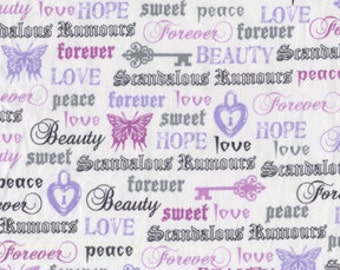 Fat Quarter - Love Forever Words Text Lavender Gray By Michael Miller Fabrics CX4872-Orchid