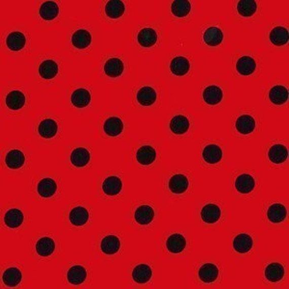 FAT QUARTER- That's It Ruby Black Red ladybug dot Michael Miller CX2489-Ruby