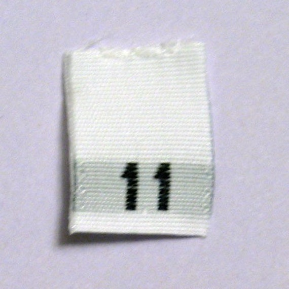 Size 11 (Eleven) Woven Clothing Size Tags (Package of 250)