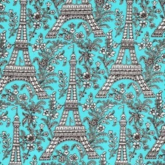 Two (2) Yard - Aqua Eiffel Tower SPA Michael Miller Turquoise