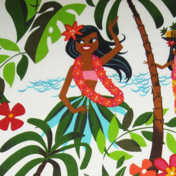 Two (2) Yards -  Hula Girls Natural White Alexander Henry Fabric