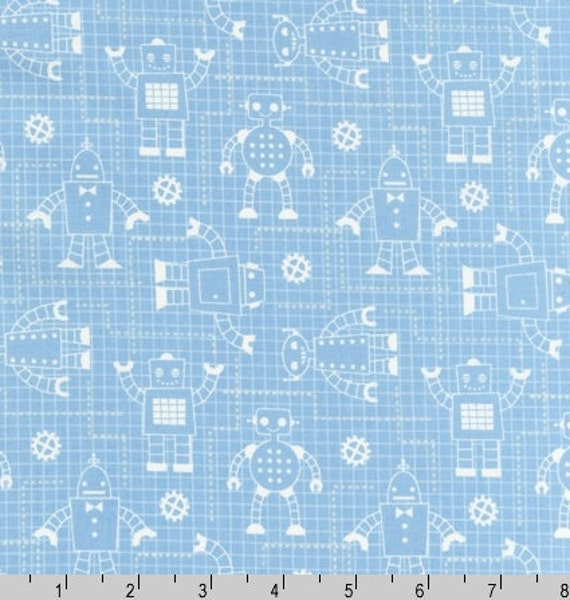 Three (3) Yards Robot Factory Aqua Blue Cotton Organic Fabric By Robert Kaufman Fabrics ACY-11533-70
