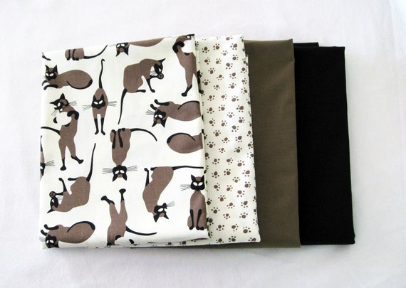 Four (4) Yard Bundle - One yard each of We are Siamese Cats, Country Couture Taupe and Kona Cotton Black