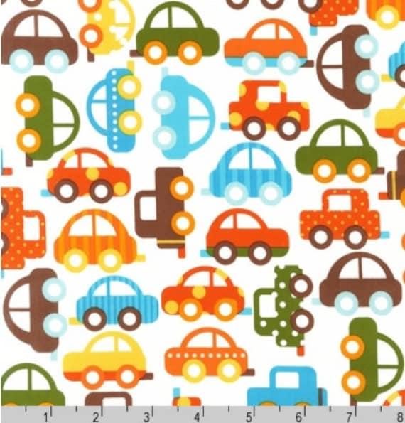One-Half Yard - Cars on Cream Robert Kaufman Organic Fabric AAK-11270-237 Bermuda