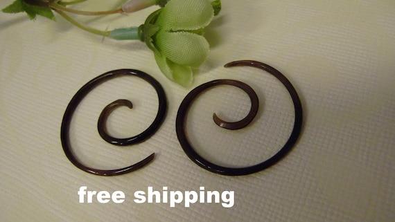 Organic Black Horn Micro Gauge Earrings Tribal style Anela