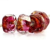 Lampwork Beads FUCHSIA GOLD Organics Handmade Glass Goodness for your Inspired Designs (5)