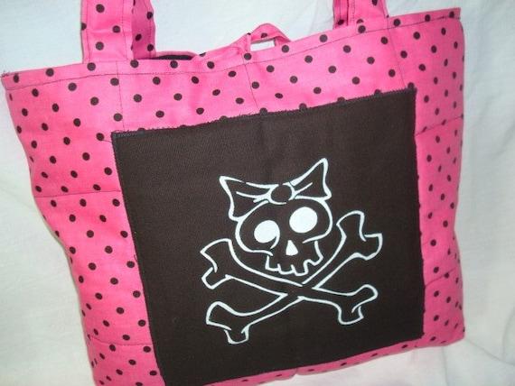 hot pink and black polka dot skully tote