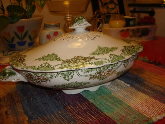 Antique green transfer ware covered vegetable dish tureen new wharf pottery