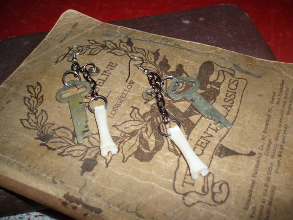 Steampunk crust punk goth inspired earrings antique keys bone