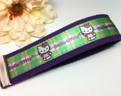 Hello Kitty Plaid Purple Wristlet Key Fob