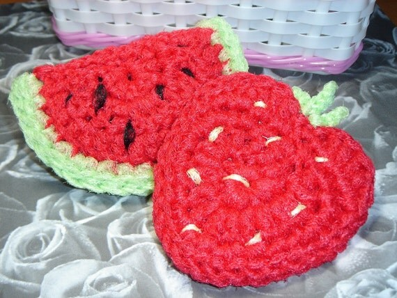 Fruit Shaped Dish Scrubbies - Set of 2 - MAKES A  GREAT GIFT for Mother's Day or as Party Favors