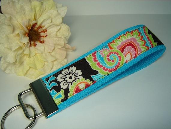 Patti Paisley Turquoise Wristlet Key Fob