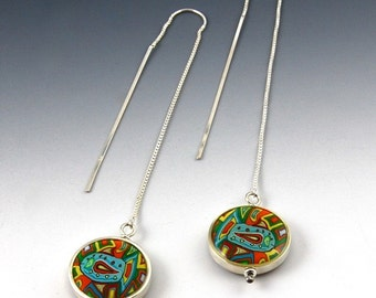 Silver Fish Pendulum Earrings