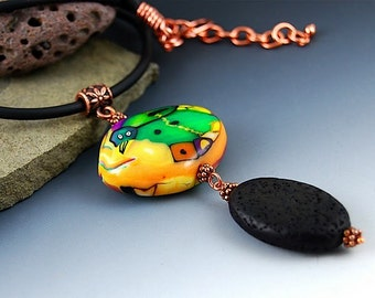 Green Bird on a Lava Rock Necklace