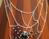 SALE  Spider on Web Necklace for Halloween