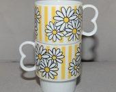 MOD Retro Daisy Stackable Ceramic Cups, Pair