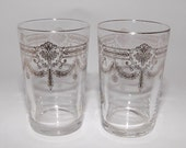 Antique Sterling Silver Glass Juice Wine Glasses