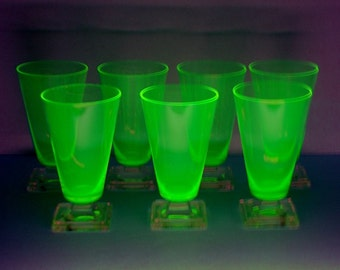 Art Deco Pedestal Iced Tea Glasses, Yellow Uranium to Clear Glass, Set of 7