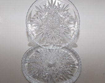Cut  Crystal Individual Serving Plates, Set of 5