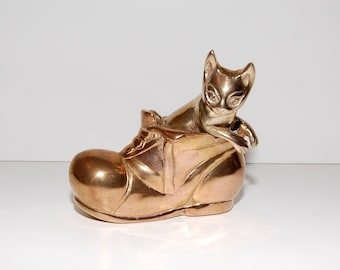 Vintage Brass Cat in the Shoe Paperweight