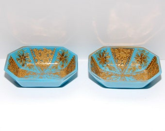 Antique Blue Opaline Glass Gold Gilt Open Salt Cellars, Pair