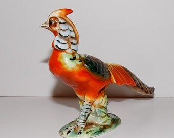 Vintage Hand Painted  Ceramic Pheasant Figurine