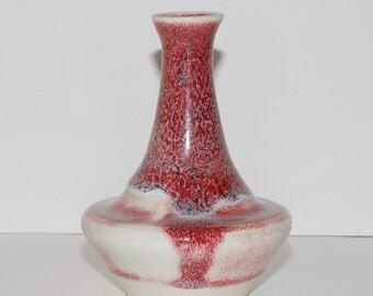 Studio Pottery Cranberry Flambe Vase