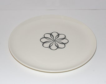 Mid Century Modern Atomic Flower Power Versatile Ceramic Chop Plate by Taylor Smith & Taylor
