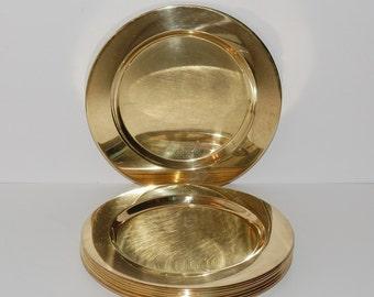 Vintage Mid Century Modern Denmark Brass Charger Plates, Set of 4, circa 1950s - 1960s