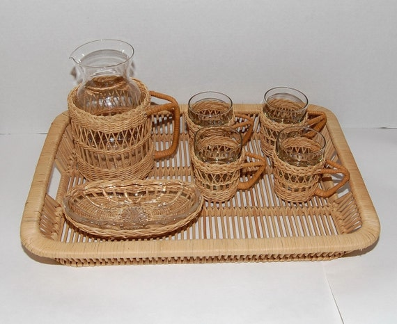 Reserved for Frank ONLY Vintage Retro Wicker Libbey Glass Lemonade Drink Set, circa 1970s