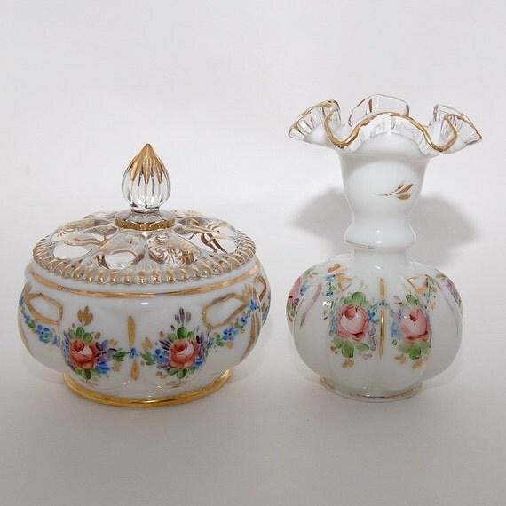 RESERVED Vintage Fenton Hand Painted Glass Vase and Melon Powder Jar