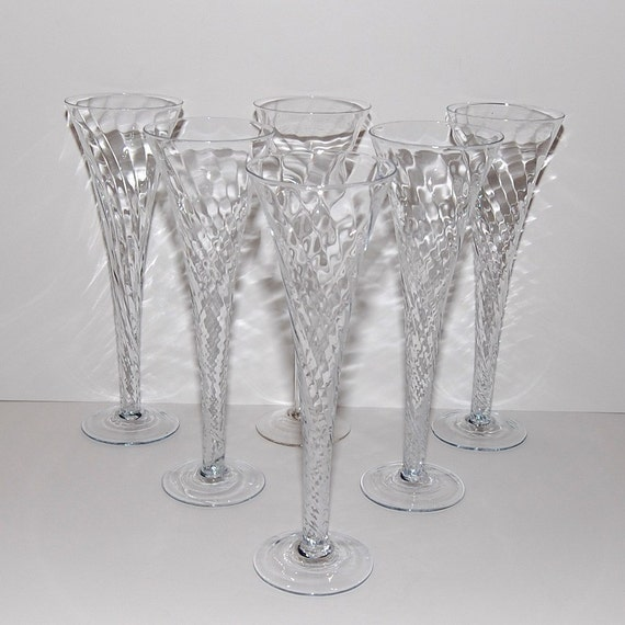 Champagne toasting flutes optic swirl glass trumpet shaped - Champagne flutes hollow stem ...