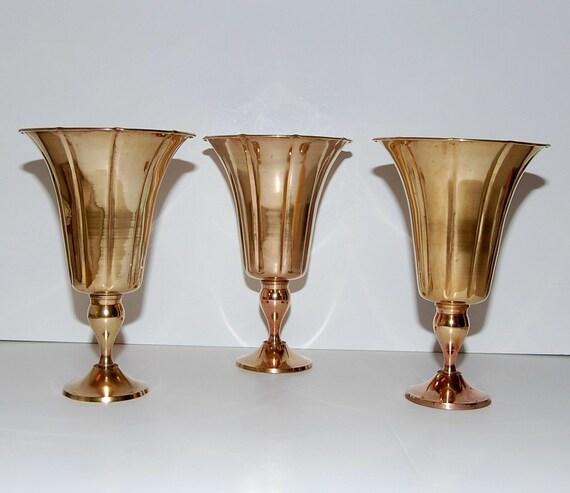 Hollywood Regency Style Brass Urns Pedestal Vases , Set of 3